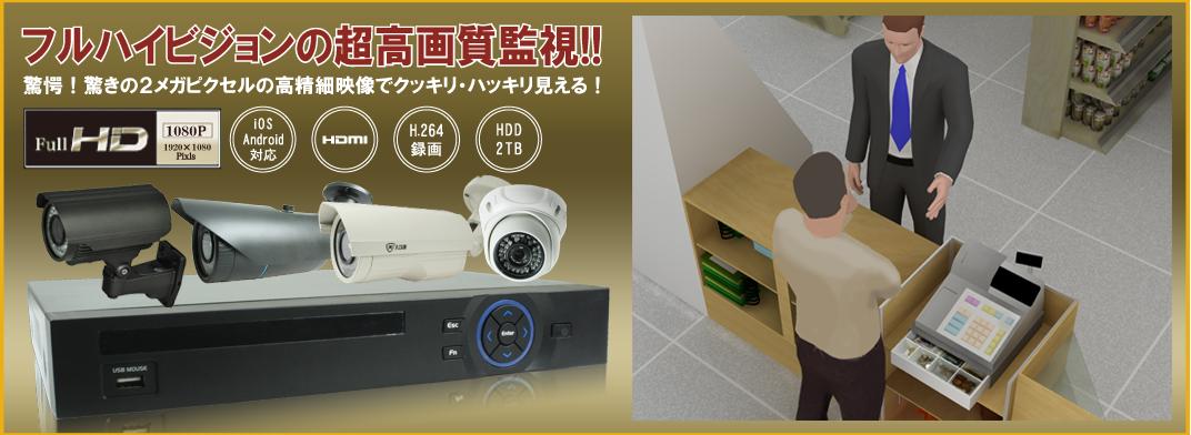 フルハイビジョン防犯監視IPカメラ